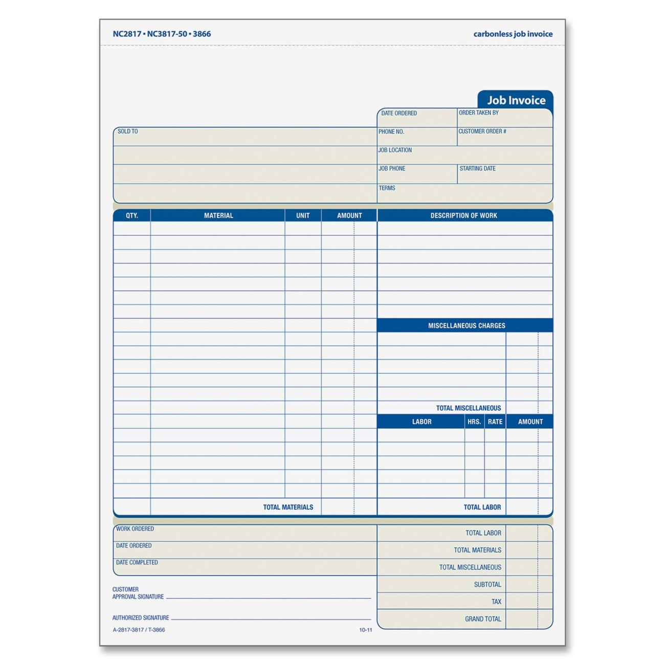 tops three part carbonless job invoice forms ld products. Black Bedroom Furniture Sets. Home Design Ideas